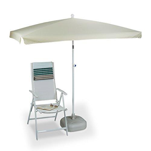Relaxdays Sonnenschirm rechteckig, 200 x 120 cm, Rippen, Polyester, Neigefunktion, Gartenschirm, natur