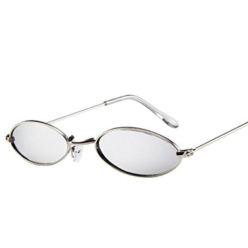 Huhu833 Mode Unisex Retro kleine ovale Sonnenbrille Metallrahmen Shades Eyewear Reise Sonnenbrille (Silber)