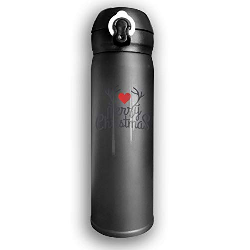 GDESFR Thermoskanne Stainless Water Bottle Designed Merrychristmas Antlers,Sports Drinking Bottle,Leak-Proof Vaccum Cup,Travel Mug,with Bounce Cover,Black -