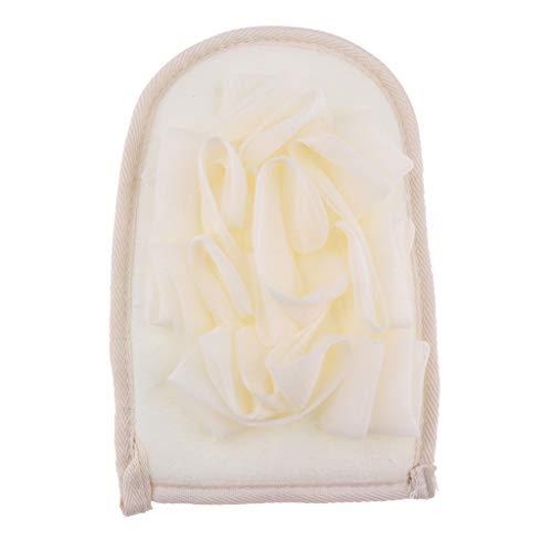 IPOTCH 2 in1 Natur Peelinghandschuh Körper & Gesicht Peeling Handschuh Luffa Schwamm Badeschwamm Duschschwamm - Beige