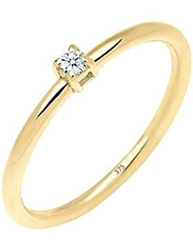 ELLI PREMIUM  Damen-Ring Verlobungsring Klassiker 375 Gelbgold Diamant (0.03 ct) Brillantschliff weiß