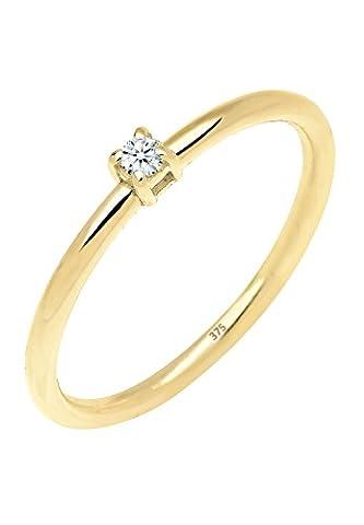 Elli PREMIUM Damen Schmuck Ring Solitärring Verlobungsring Glamour 375er Gelbgold Diamant 0,03 Karat Weiß Größen 52 54 56 (9 Ct Goldringe)