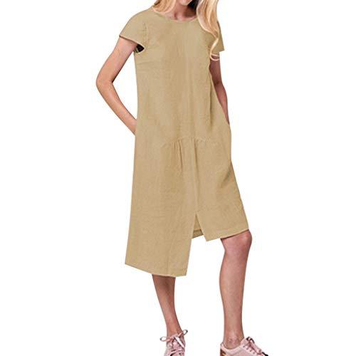 Urlaub Mascara (Wawer Frauen Urlaub Lace Up Damen Sommer Backless Beach Party Kleid, Kurzarm Lose Kleid Baumwolle Leinen beiläufiges Boho Maxi Strand-Kleid Taschen)