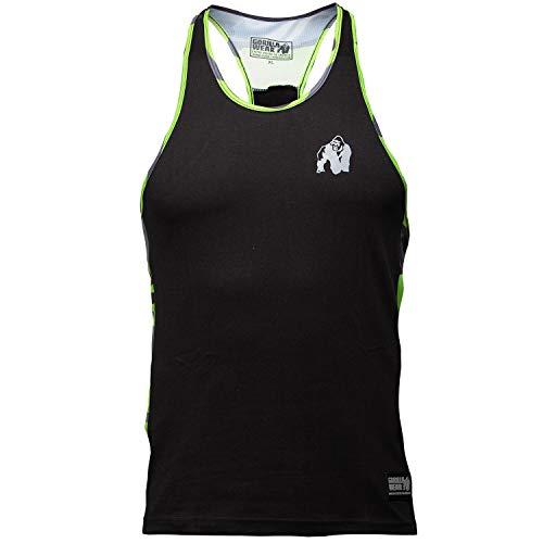Gorilla Wear Sacramento Camo Mesh Tank Top - Fitness Stringer Bodybuilding Muskelshirt Schwarz/Neon L