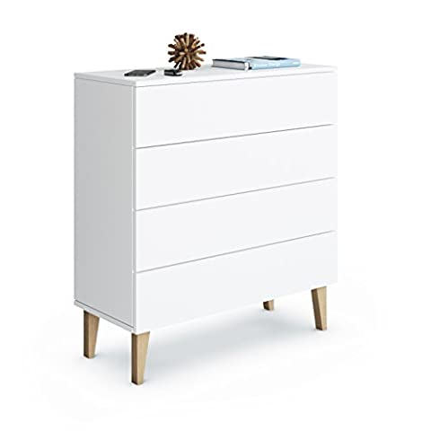Cabinet Chest of Drawers Rova Deluxe 4SK, Carcass in White