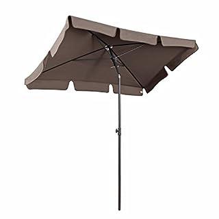 Sekey Parasol de Jardin 200 × 125 cm Parasol de terrasse Protection Solaire UV 50+ Cappuccino Carré