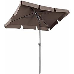 Sekey Sombrilla, 200x 125cm, Aluminio, para Mercado, jardín, terraza, protección Solar UV50+, Cubo de Color Capuchino