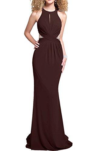 Milano Bride elegant Meerjungfrau-linie oeffentliche Ruecken Damen Abendkleider Cocktailkleider Partykleider Sweep Neu Schokolade