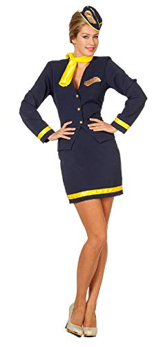 narrenkiste W4092-44 blau-gelb Damen Flugbegleiterin Hostess Stewardess -