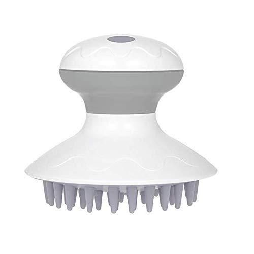 Masseurs électriques de cuir chevelu, shampooing de vibration de peigne de massage de vibration de cheveux de brosse de shampooing anti-pellicules imperméable (Gris/Blanc)
