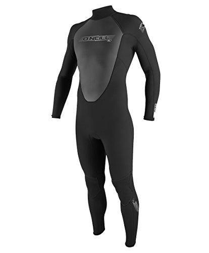 O'Neill Mens 3/2mm Reactor Back Zip Full Wetsuit, Black, Medium Short -