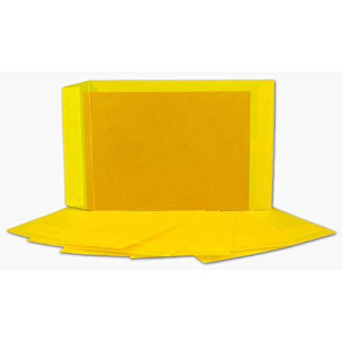50 DIN C5 Briefumschläge transparent in Gelb Farbig   Format 162 x 229 mm   Premium 100 g/qm   Transparent-Hüllen mit Abziehstreifen   bunte Umschläge für Einladungen & Hochzeiten