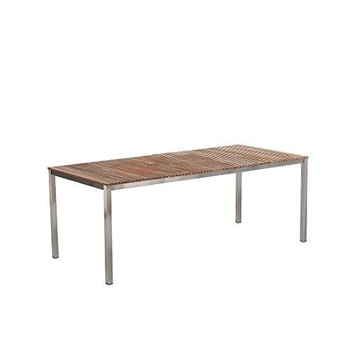 Beliani Gartentisch Edelstahl/Teakholz braun 200 x 90 cm VIAREGGIO