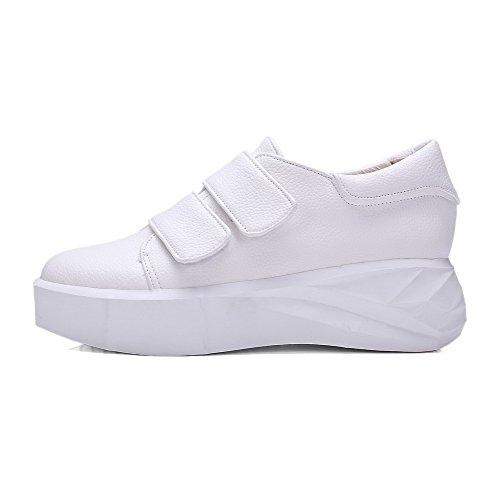AllhqFashion Femme Matière Mélangee Velcro Rond à Talon Correct Couleur Unie Chaussures Légeres Blanc