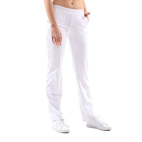 Sportkind Mädchen & Damen Tennis/Fitness/Sport Trainingshose, Weiss, Gr. XXL -