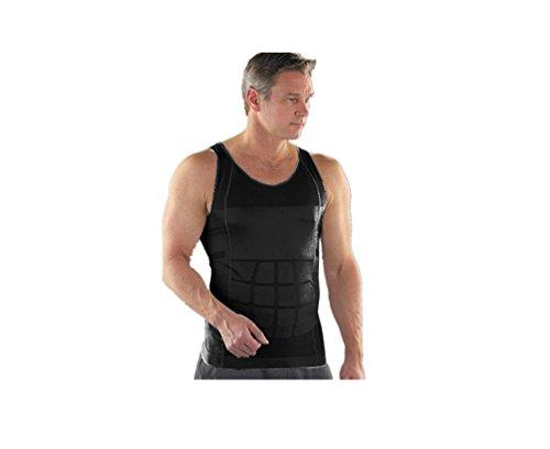 GGTBOUTIQUE Schwarz Plus Größe Elastic Herren Weste Body Shaper Slimming Gr. Large, schwarz