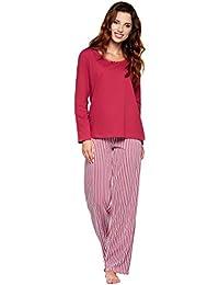 77418bf2c38b27 Moonline Moderner und Bequemer Damen Pyjama/Shorty/Capri Schlafanzug, mit Weicher  Baumwolle,