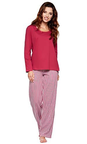 Moonline moderner und bequemer Damen Pyjama/Shorty / Capri Schlafanzug, mit weicher Baumwolle, Bordeaux, Gr. L (44/46)