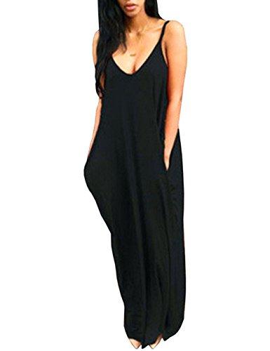 Baymate Femme Robe de Plage Sans Manches Col V Longue Maxi à Bretelle Party Robe De Soiree Noir 1