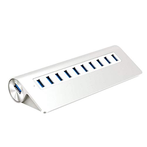 SHENGY Triangolo in Lega di Alluminio a 10 Porte USB 3,0 Hub, per MacBook, Mac PRO, iMac, Notebook, PC Docking Station 5Gbps Splitter