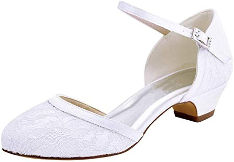 Qiusa Scarpe da Sposa da Donna con Tacco Basso Basso Basso e Chunky a Tacco Basso (Coloreee   Ivory-4cm Heel, Dimensione   2.5... | modello di moda  c4d01b