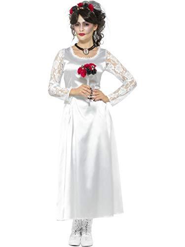 Strauß Frauen Kostüm - costumebakery - Damen Frauen Kostüm Brautkleid mit Spitzen Ärmel im Day of The Dead Stil, Kleid, mit Strauß und Haarband, Horror Zombie Bride, perfekt für Halloween Karneval und Fasching, XL, Weiß