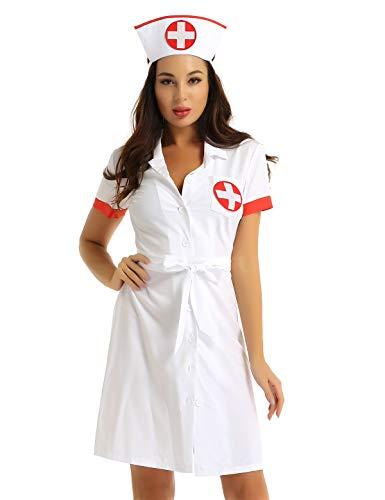 TiaoBug Damen Krankenschwester Uniform Cosplay Kostüm Arztin Kittel mit Haube Kurzarm Kleid Reverkragen Mantel sexy Mini Kleid Weiß Medium