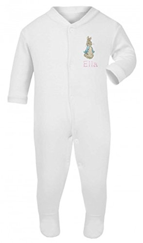 Girls Personalised Peter The Rabbit Baby grow/Sleepsuit - Now available in Five Sizes