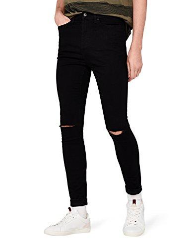 find. Herren Super Skinny Jeans mit Distressed-Look, Schwarz (Black), W32/L32 (Herstellergröße: 32)