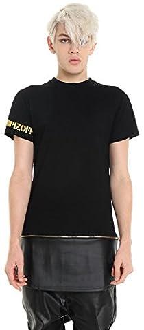 Pizoff Homme T-shirt ultra long avec ourlet zippé fermeture à glissière similicuir Y1536-L