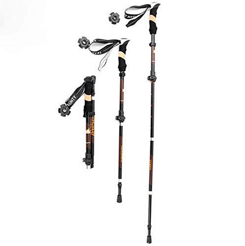 2-teiliger, vierteiliger Teleskop-Faltschloss-Trekkingstock zum Wandern im Freien im Gelände aus 7075er Aluminium, ergonomischer Griff, geeignet für Wandern/Gehen/Reisen/Rucksack