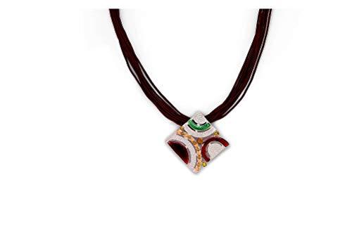 Perlkönig Kette Halskette | Damen Frauen | Silber Schwarz Grün Rot Farben | Quadratischer Anhänger | Nickelfrei -