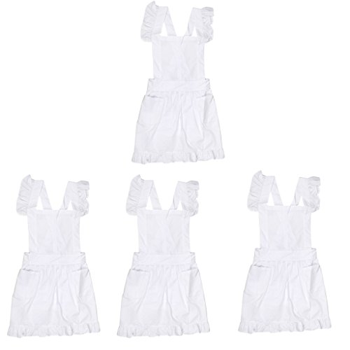 MagiDeal 4 Stk. Viktorianischen Stil Damen Kostüm Pinafore Schürze Zofe Spitze Kittel Kräuseln ()