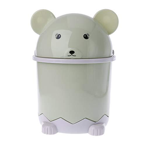 Mini Bär Abfallbehälter Desktop Müllkorb Tisch Home Mülleimer Schwingdeckel 1.5L -