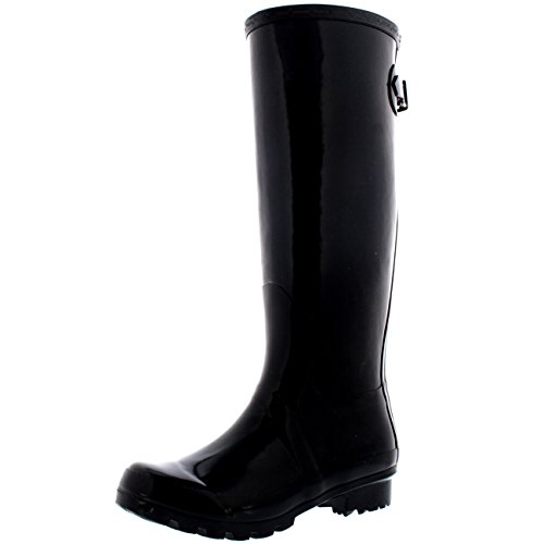 Womens Adjustable Back Tall Gloss Winter Snow Rain Wellies Wellington Boots -...