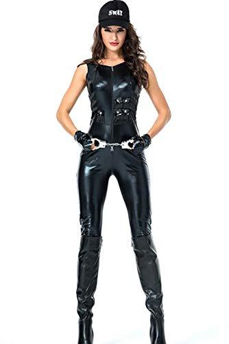 Learplay Damen Sexy Ärmelloser PU Overall Cosplay Outfit Halloween Polizistin Kostüm (Halloween Polizistin Outfit)