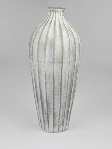 formano Deko Bodenvase Landhaus Relief H. 60cm Creme weiß Keramik