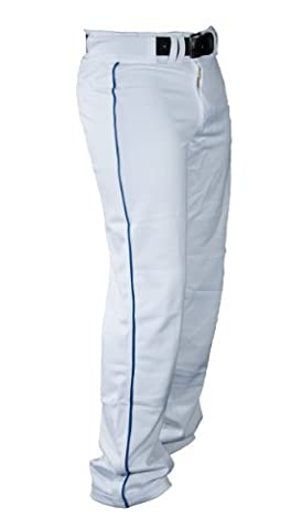 Louisville Slugger Men's Slugger All-American Relax-Fit Open Bottom Pant, White/Royal Piping, Small by Louisville Slugger