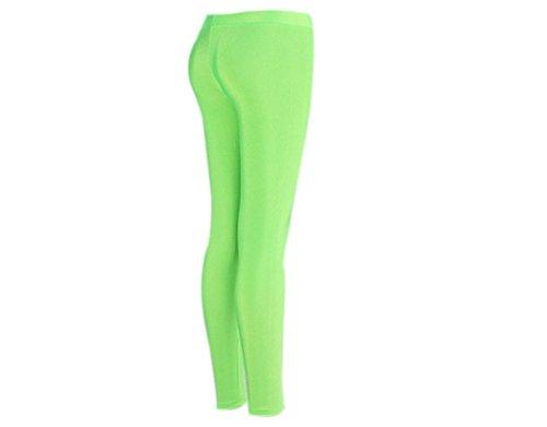 BONAMART ® Damen Mädchen Sexy Punk Glanz Bunt Neon Pink Leggings Leggins Hose Fluorescentgrün