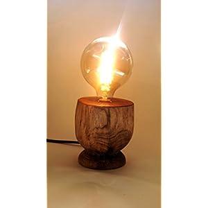 Designerlampe, Edisonlampe mit Fuß aus Nussbaumholz (inklusive Edison-Glühfadenlampe)- aus der Landmanufaktur Werbig