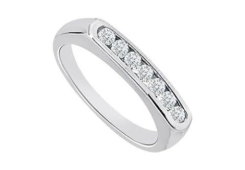 Diamond Channel Set Wedding Band 14K White Gold 0.25 CT Diamonds