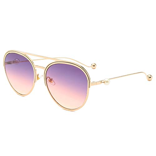 YHgiway Aviator Sonnenbrillen für Frauen, Fashion Designer Pearl & Gradient Lens Shades Sun Glasses for Driving Beach UV400,PurplePinkLens