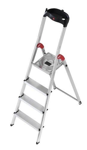 Preisvergleich Produktbild Hailo 5_8504-001 L60 Sicherheits-Haushaltsleiter, aus Aluminium, 4Stufen