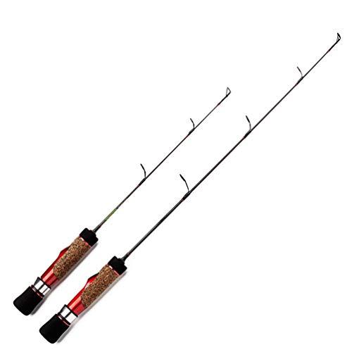 re Spinnrute Kohlenstoffstahl Rod Angelrute EIS Angelrute Outdoor Angelgerät Zubehör für Winter - Rot - 56 cm ()