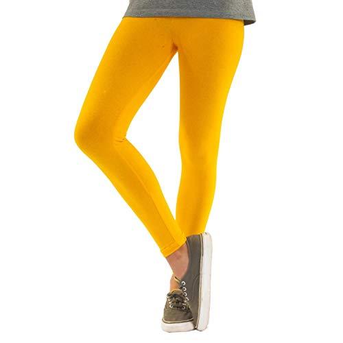 Blickdichte Damen Leggings aus Baumwolle Leggins Knöchellang in schwarz weiß grün grau rot gelb, Farbe: Gelb, Größe: 48-50 (3XL)