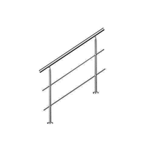 MCTECH® 150cm Garde-corps en acier inoxydable Rambarde Main Courante Rampe d'escalier 2 poteaux traverses pour escaliers, balcon, balustrade