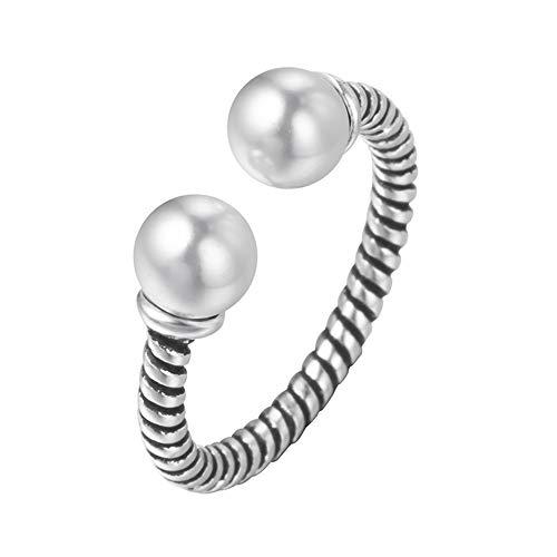 HDDWZH Woman Ring,Perle Ringe Frauen Große Antike Thai Silber Schmuck Fingerring Damen Böhmen Ringe Party Geschenk Valentinstag Vorhanden (Antike Perle Ring)