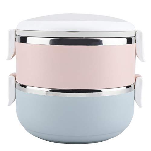 Akozon Thermal Lunch Box Tragbarer Edelstahlbehälter Bento Box Perfekter Edelstahl Isolier Behälter(2 Schichten)