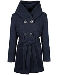 Anastasia - Navy Tweed Women's Hooded Belted Winter Coat