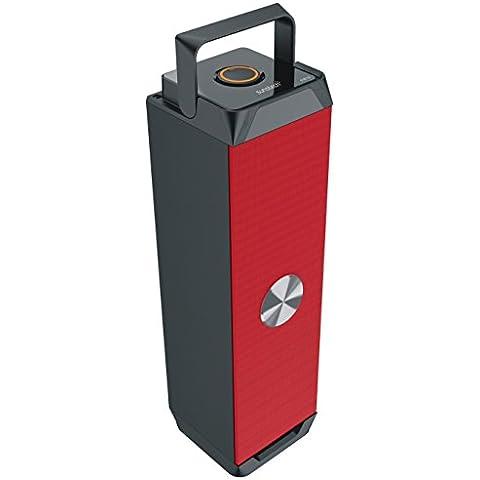Sunstech STBT50RD - Torre estéreo portátil con Bluetooth, radio, USB, SD y aux-in, 4W RMS
